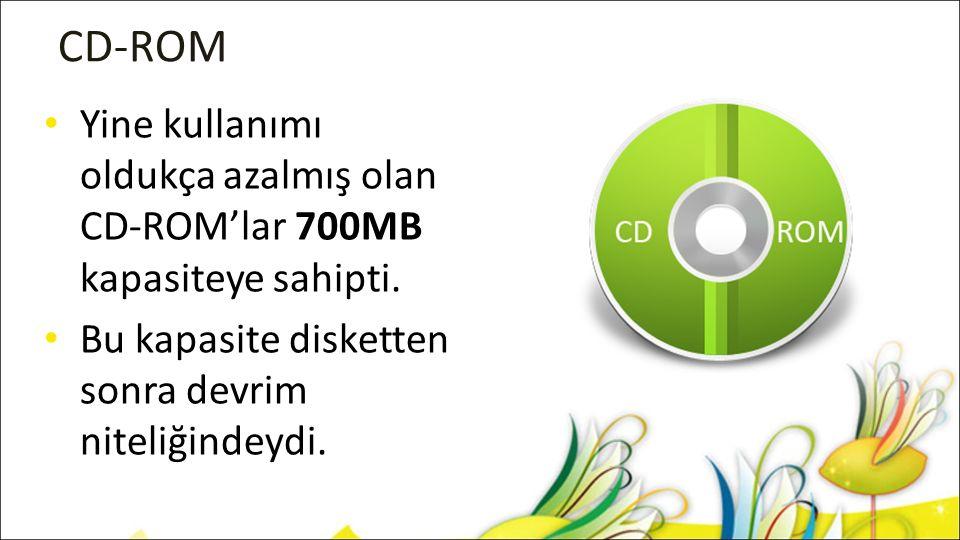 CD-ROM Yine kullanımı oldukça azalmış olan CD-ROM'lar 700MB kapasiteye sahipti.