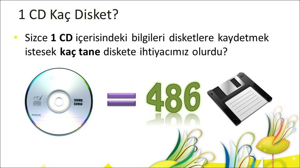 1 CD Kaç Disket Sizce 1 CD içerisindeki bilgileri disketlere kaydetmek istesek kaç tane diskete ihtiyacımız olurdu