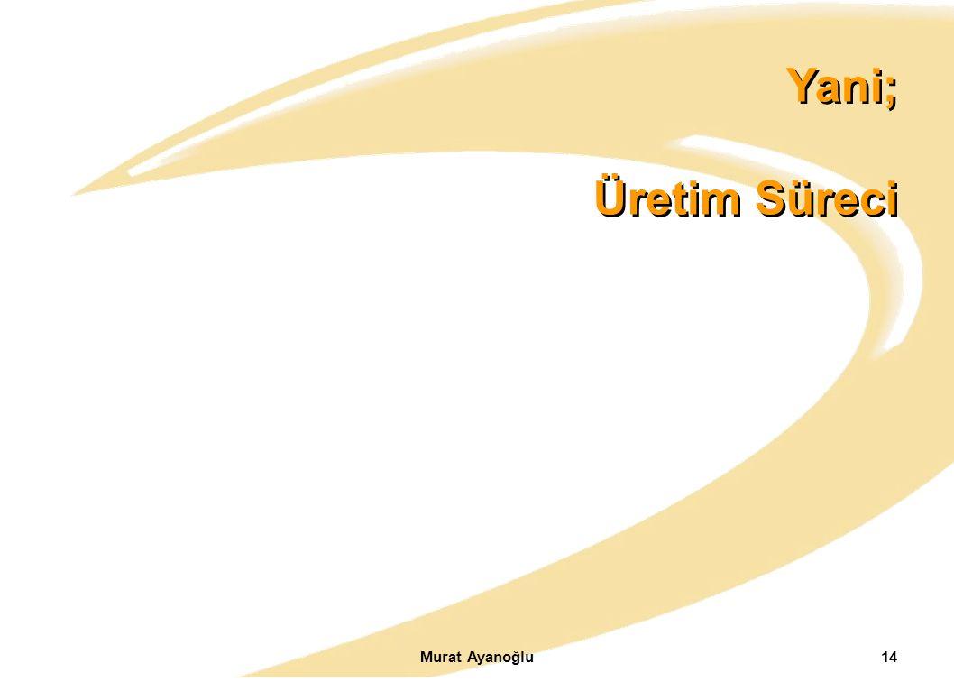 Yani; Üretim Süreci Murat Ayanoğlu