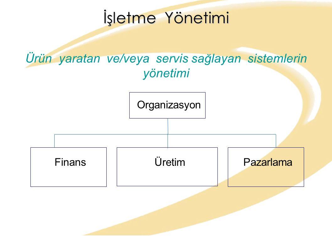 Ürün yaratan ve/veya servis sağlayan sistemlerin yönetimi