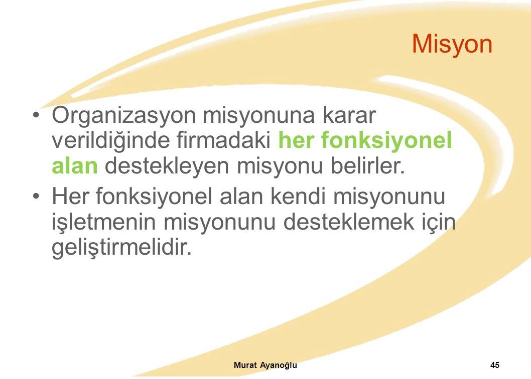 Misyon Organizasyon misyonuna karar verildiğinde firmadaki her fonksiyonel alan destekleyen misyonu belirler.