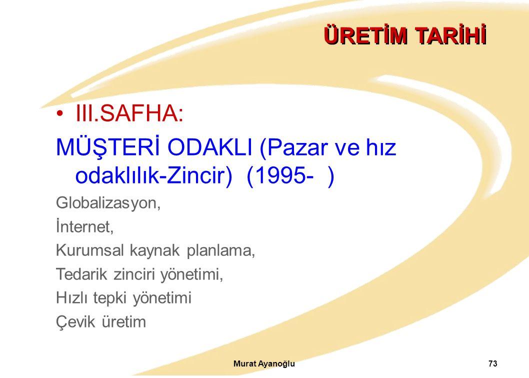 MÜŞTERİ ODAKLI (Pazar ve hız odaklılık-Zincir) (1995- )