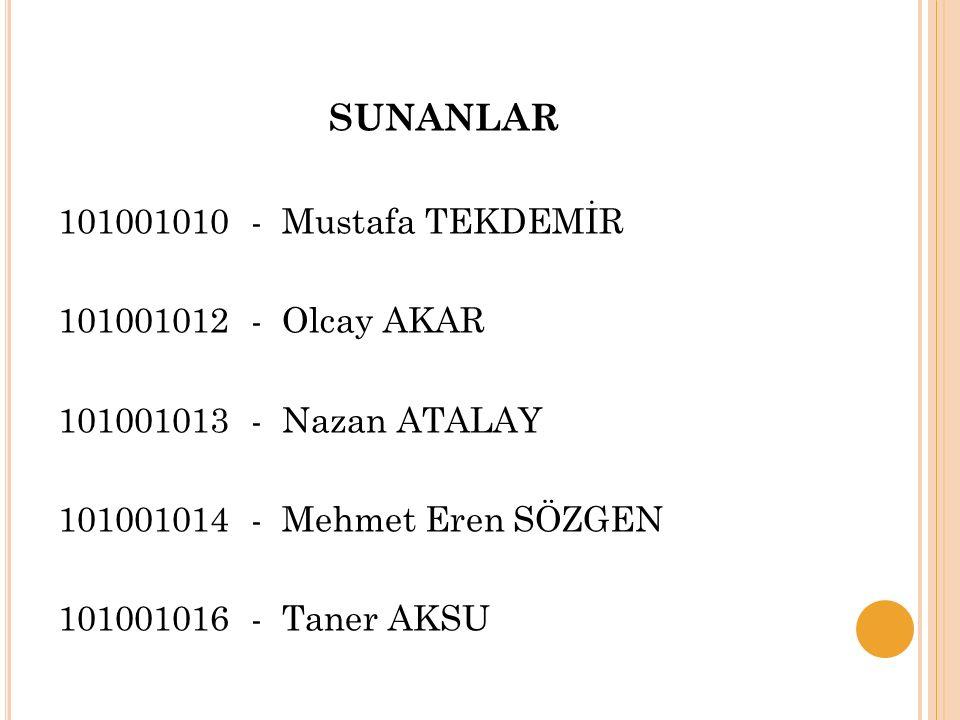 101001010 - Mustafa TEKDEMİR 101001012 - Olcay AKAR