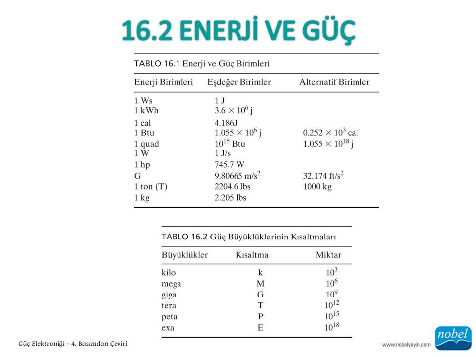 16.2 ENERJİ VE GÜÇ