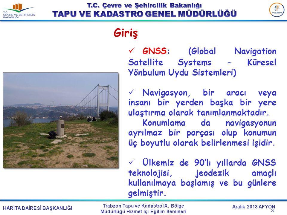 Giriş GNSS: (Global Navigation Satellite Systems - Küresel Yönbulum Uydu Sistemleri)