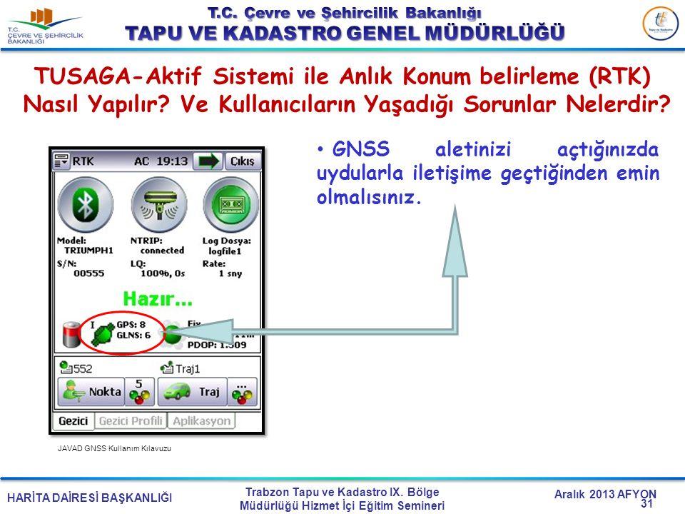 TUSAGA-Aktif Sistemi ile Anlık Konum belirleme (RTK)