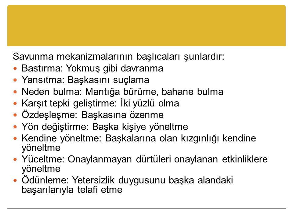 Savunma mekanizmalarının başlıcaları şunlardır: