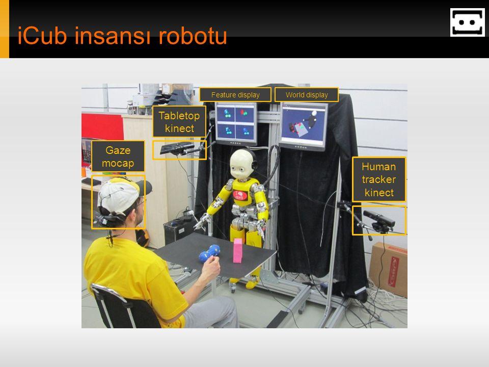 iCub insansı robotu Tabletop kinect Gaze mocap Human tracker kinect