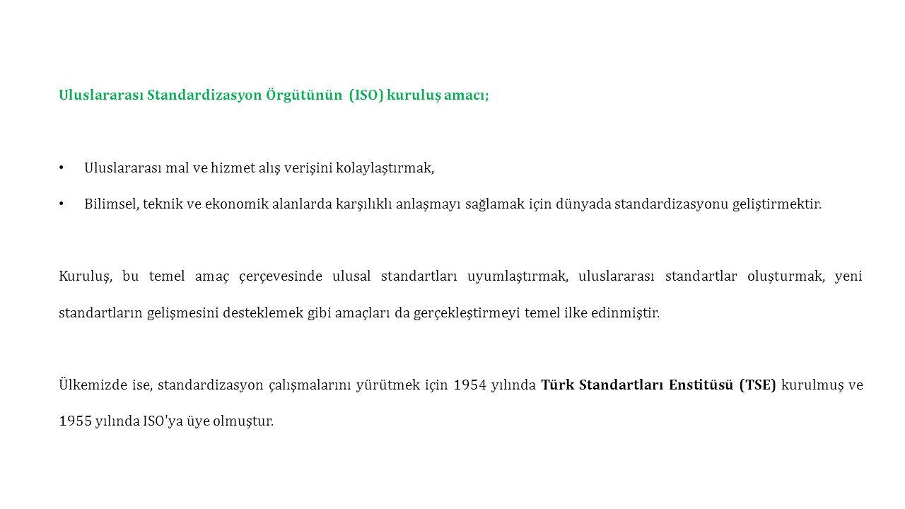 Uluslararası Standardizasyon Örgütünün (ISO) kuruluş amacı;