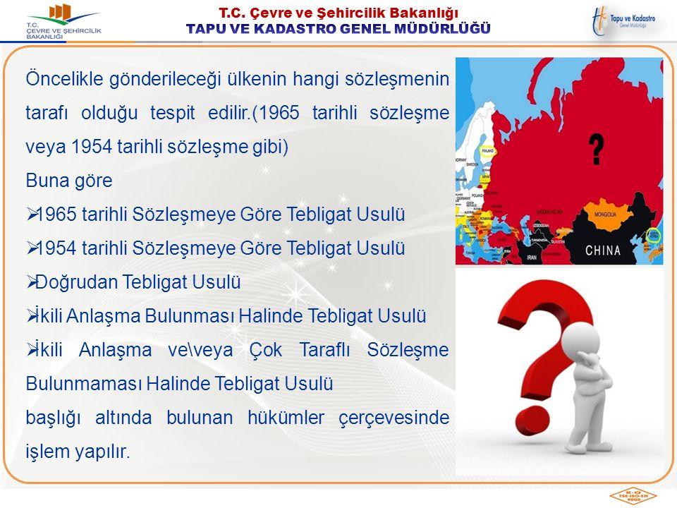Öncelikle gönderileceği ülkenin hangi sözleşmenin tarafı olduğu tespit edilir.(1965 tarihli sözleşme veya 1954 tarihli sözleşme gibi)