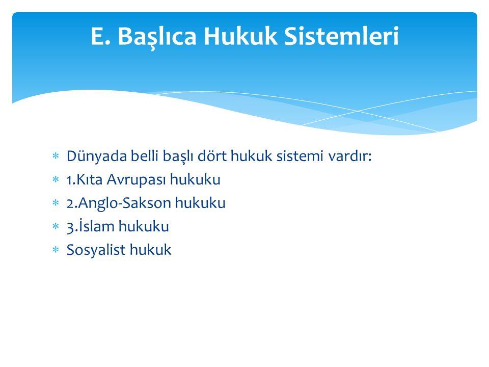 E. Başlıca Hukuk Sistemleri