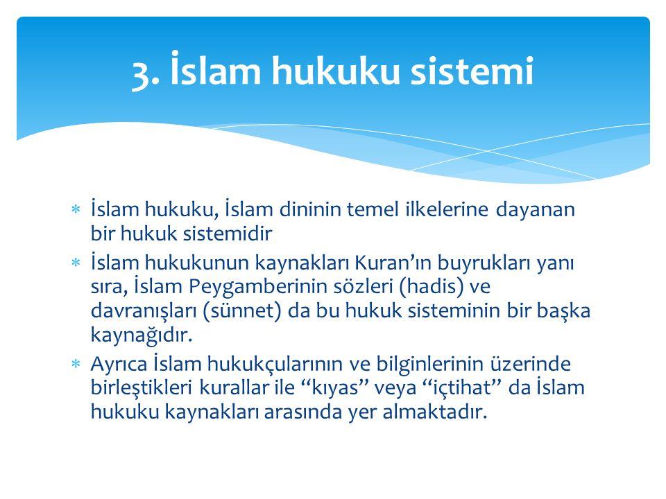 3. İslam hukuku sistemi İslam hukuku, İslam dininin temel ilkelerine dayanan bir hukuk sistemidir.