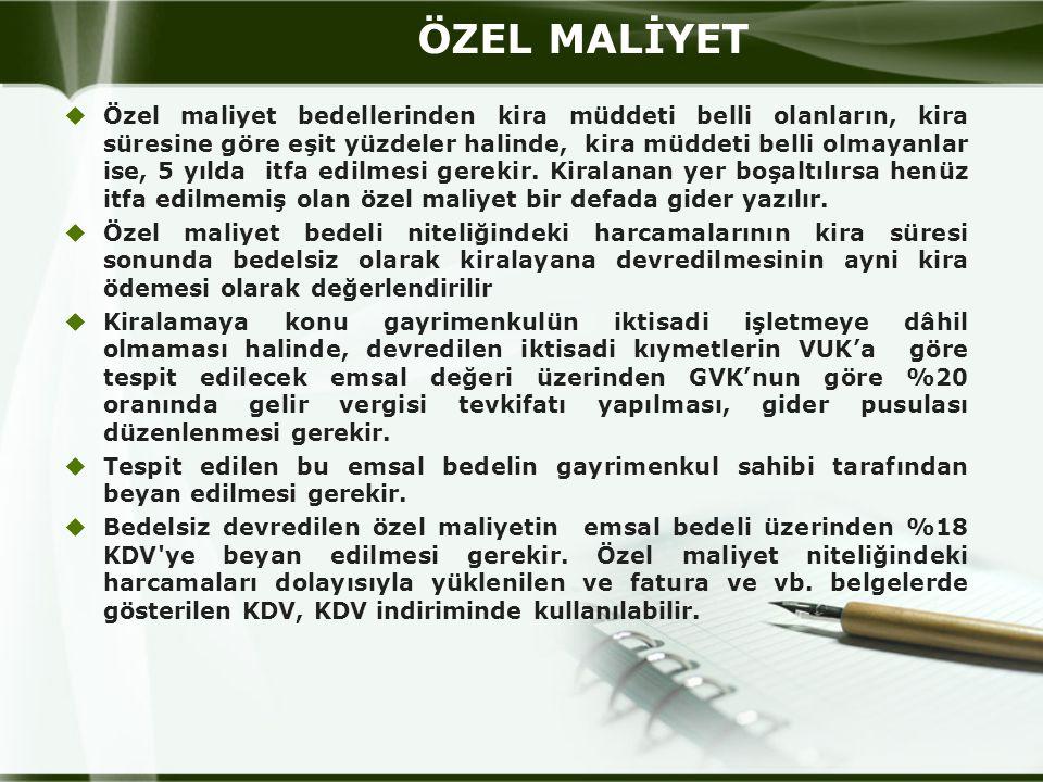 ÖZEL MALİYET