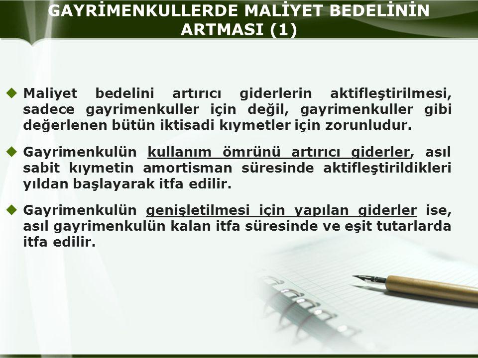 GAYRİMENKULLERDE MALİYET BEDELİNİN ARTMASI (1)
