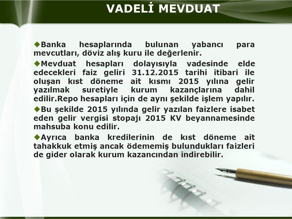 VADELİ MEVDUAT Banka hesaplarında bulunan yabancı para mevcutları, döviz alış kuru ile değerlenir.