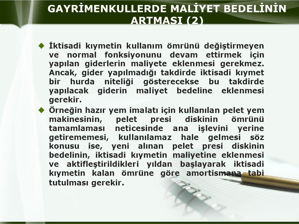 GAYRİMENKULLERDE MALİYET BEDELİNİN ARTMASI (2)