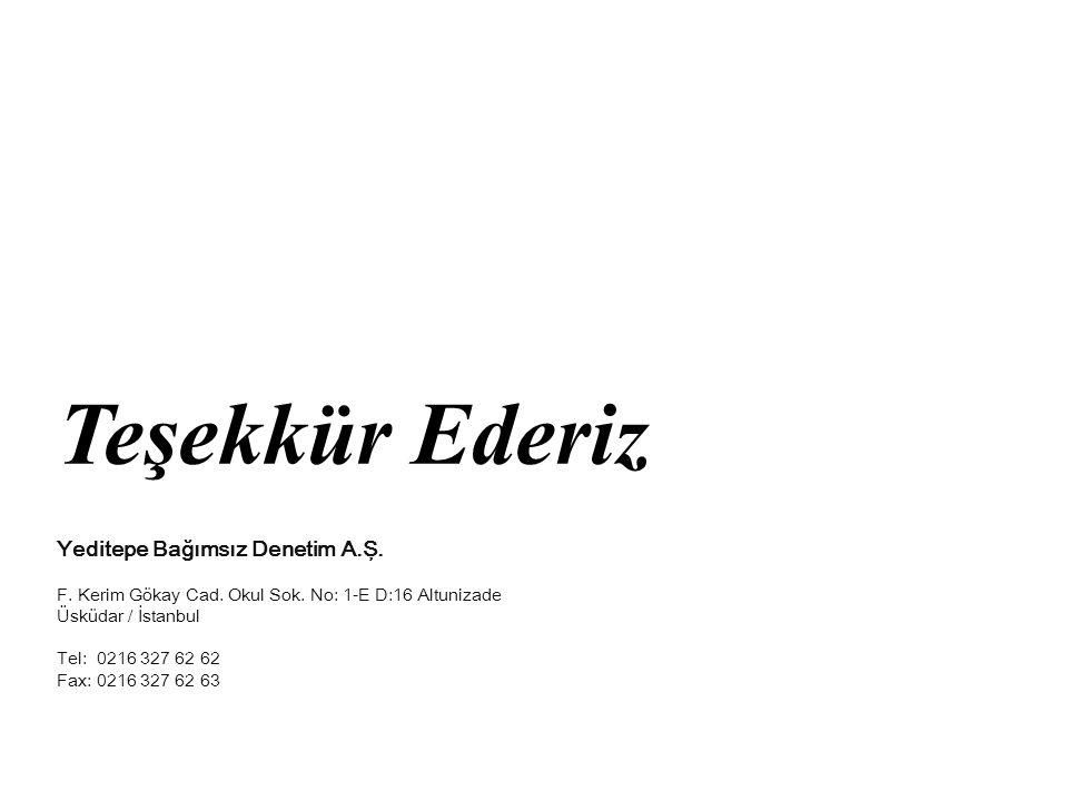 Teşekkür Ederiz Yeditepe Bağımsız Denetim A.Ş.
