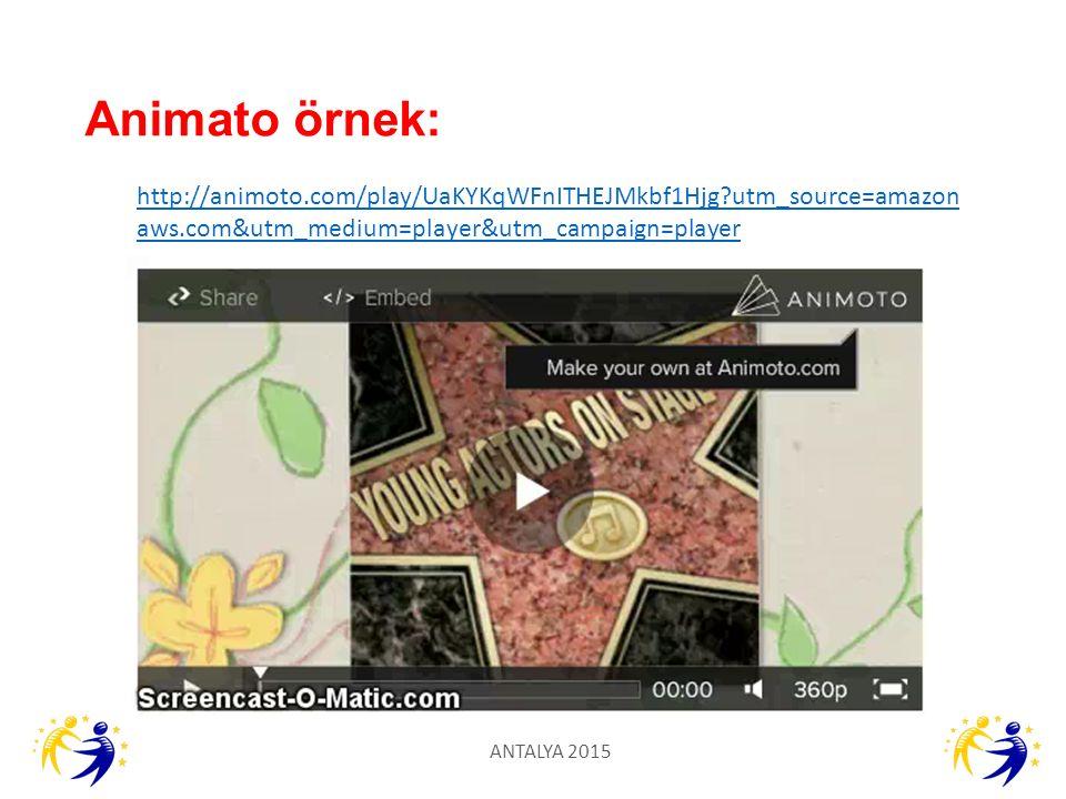 Animato örnek: http://animoto.com/play/UaKYKqWFnITHEJMkbf1Hjg utm_source=amazonaws.com&utm_medium=player&utm_campaign=player.