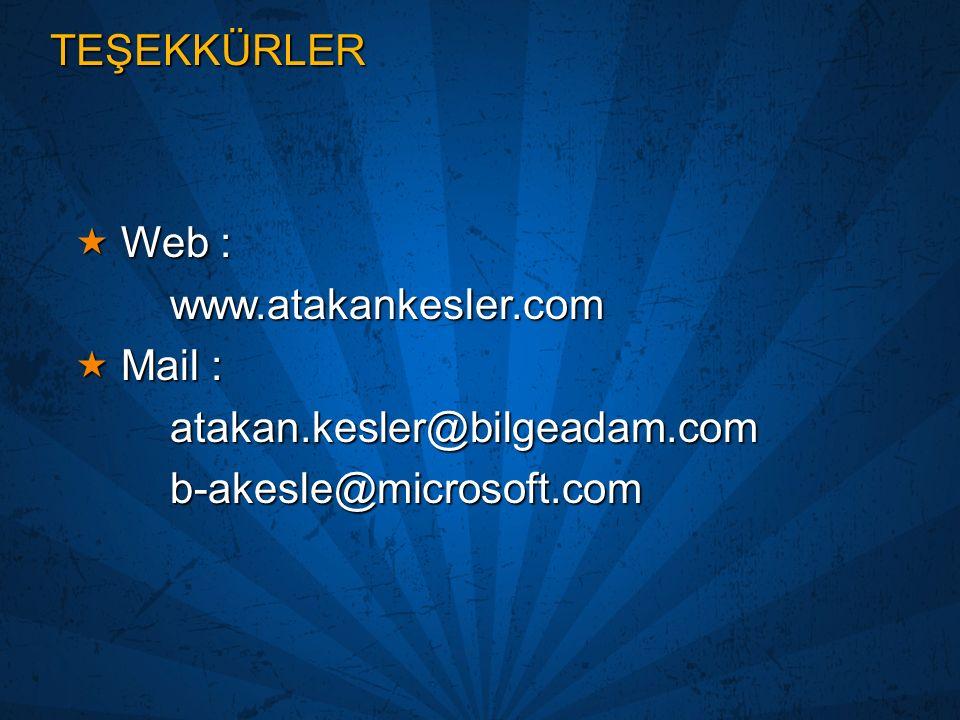 TEŞEKKÜRLER Web : www.atakankesler.com. Mail : atakan.kesler@bilgeadam.com. b-akesle@microsoft.com.