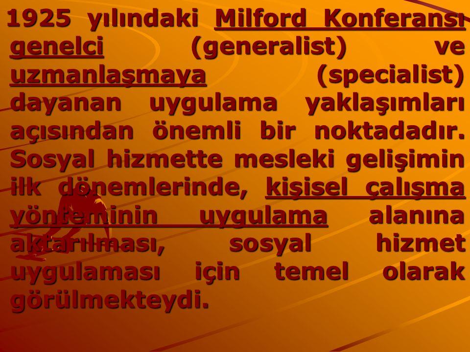 1925 yılındaki Milford Konferansı genelci (generalist) ve uzmanlaşmaya (specialist) dayanan uygulama yaklaşımları açısından önemli bir noktadadır.