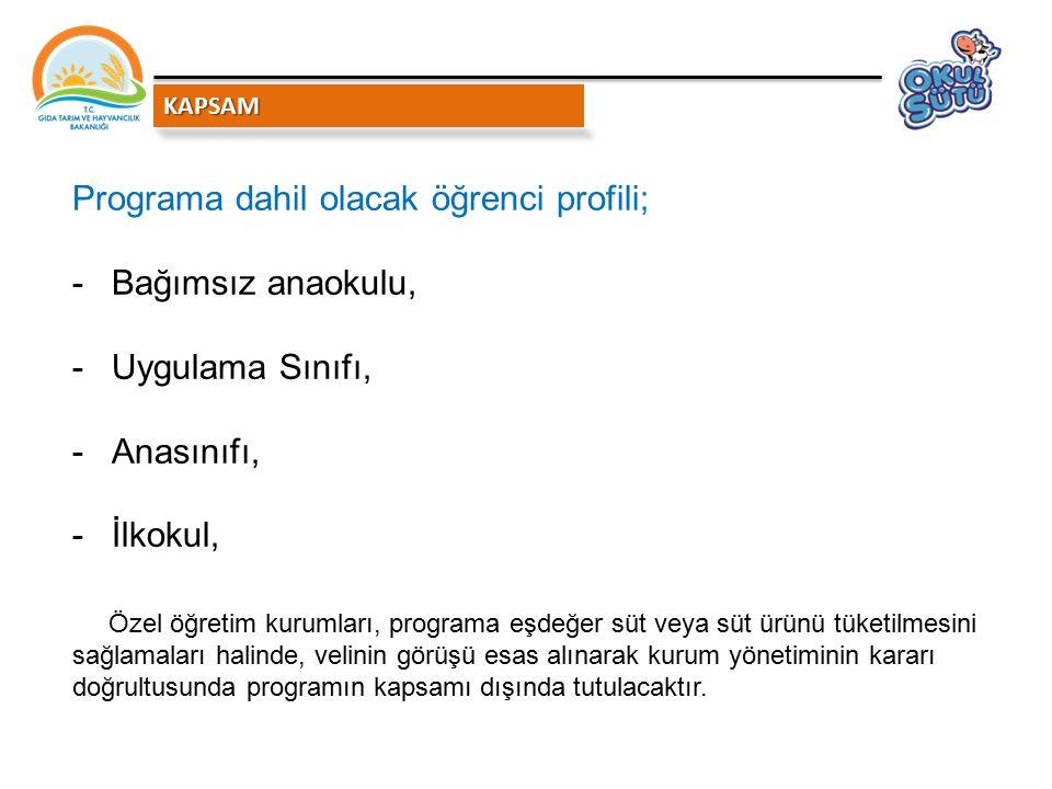 Programa dahil olacak öğrenci profili; Bağımsız anaokulu,