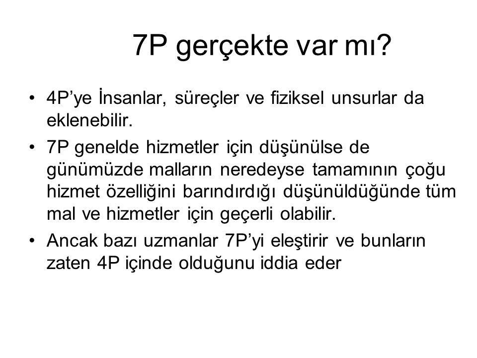 7P gerçekte var mı 4P'ye İnsanlar, süreçler ve fiziksel unsurlar da eklenebilir.