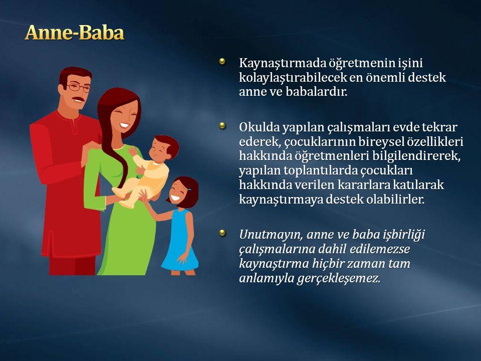Anne-Baba Kaynaştırmada öğretmenin işini kolaylaştırabilecek en önemli destek anne ve babalardır.