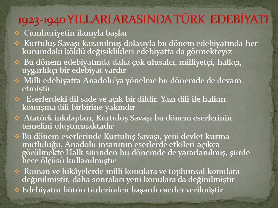 1923-1940 YILLARI ARASINDA TÜRK EDEBİYATI