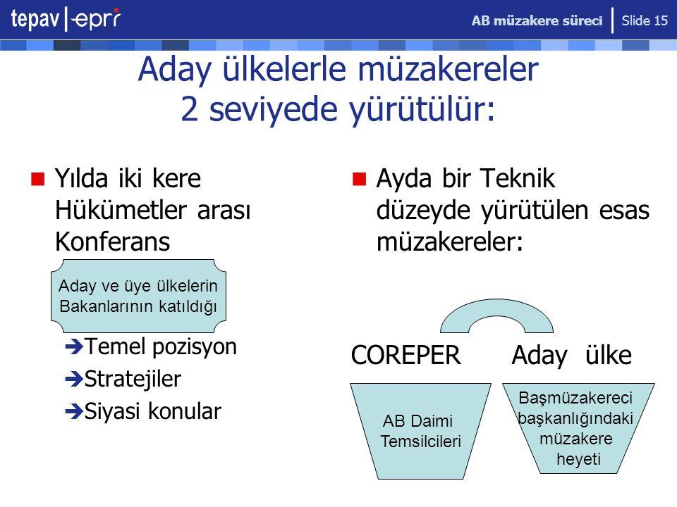Aday ülkelerle müzakereler 2 seviyede yürütülür: