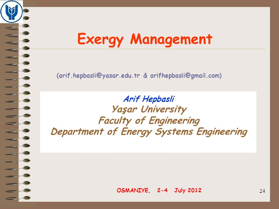 Faculty of Engineering Department of Energy Systems Engineering