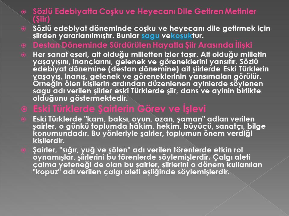 Eski Türklerde Şairlerin Görev ve İşlevi