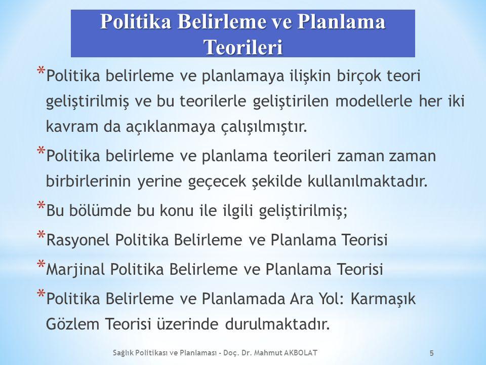 Politika Belirleme ve Planlama Teorileri