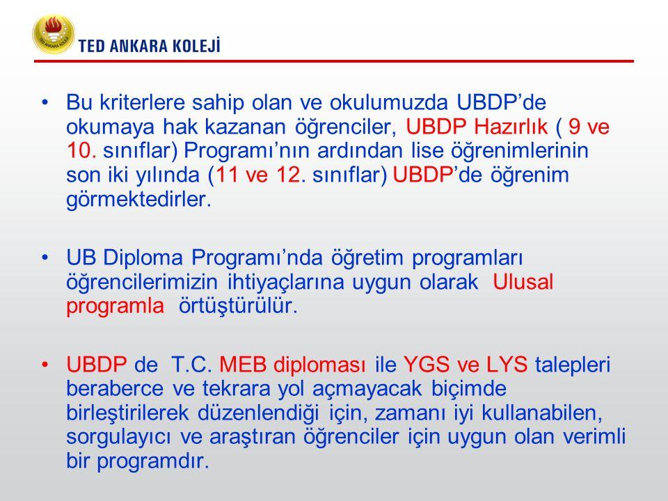 Bu kriterlere sahip olan ve okulumuzda UBDP'de okumaya hak kazanan öğrenciler, UBDP Hazırlık ( 9 ve 10. sınıflar) Programı'nın ardından lise öğrenimlerinin son iki yılında (11 ve 12. sınıflar) UBDP'de öğrenim görmektedirler.