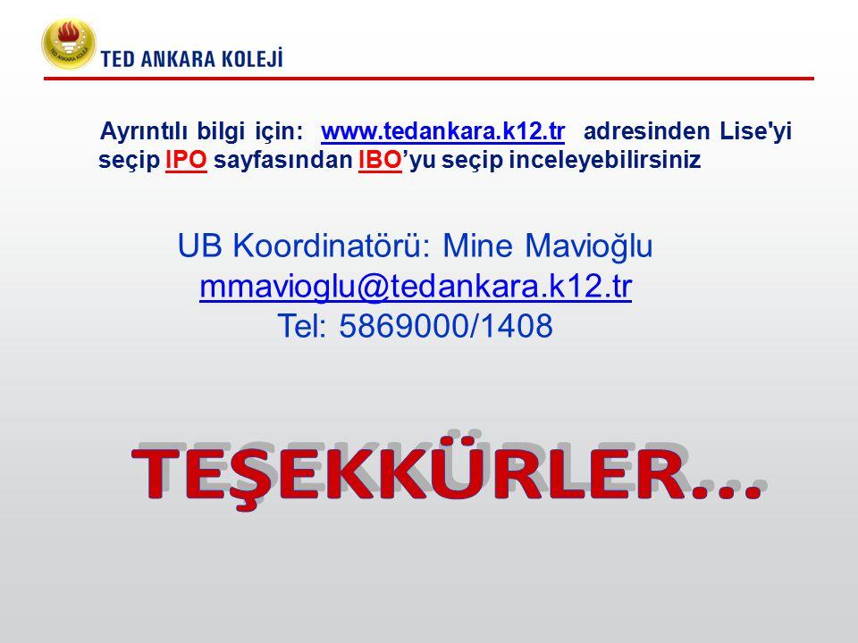 UB Koordinatörü: Mine Mavioğlu