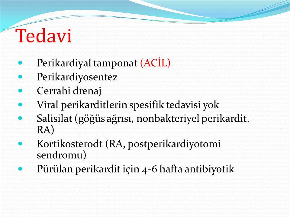 Tedavi Perikardiyal tamponat (ACİL) Perikardiyosentez Cerrahi drenaj