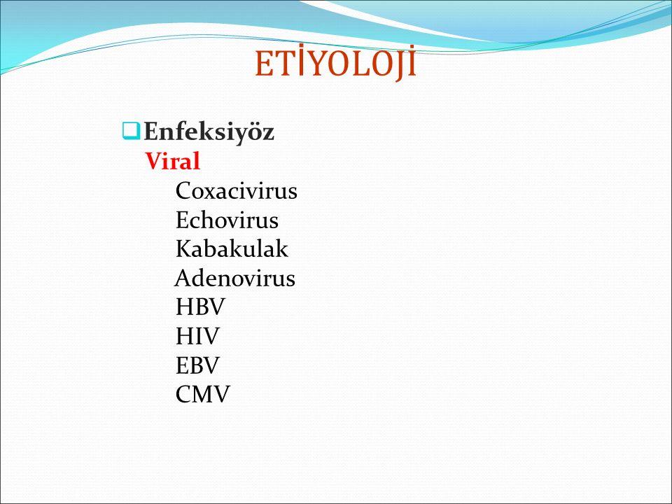 ETİYOLOJİ Enfeksiyöz Viral Coxacivirus Echovirus Kabakulak Adenovirus