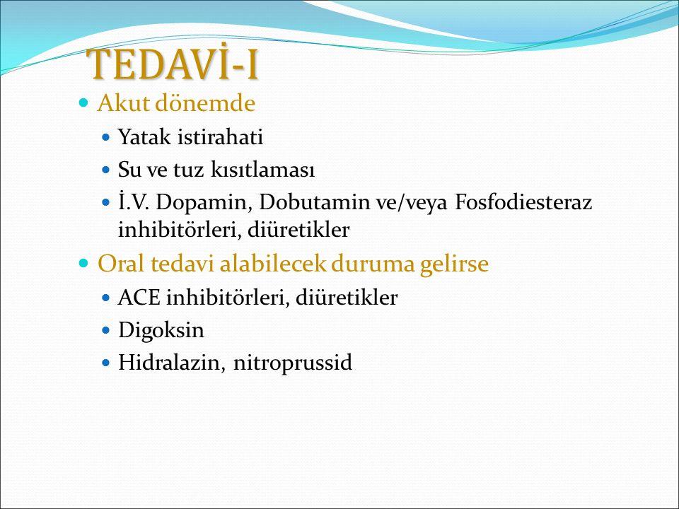 TEDAVİ-I Akut dönemde Oral tedavi alabilecek duruma gelirse