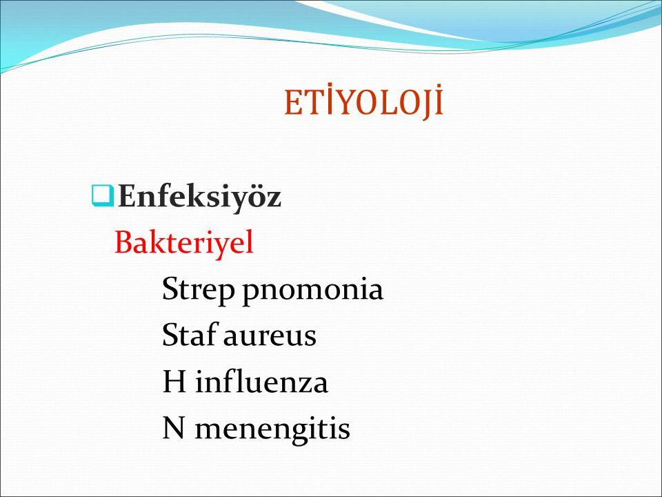 ETİYOLOJİ Enfeksiyöz Bakteriyel Strep pnomonia Staf aureus H influenza
