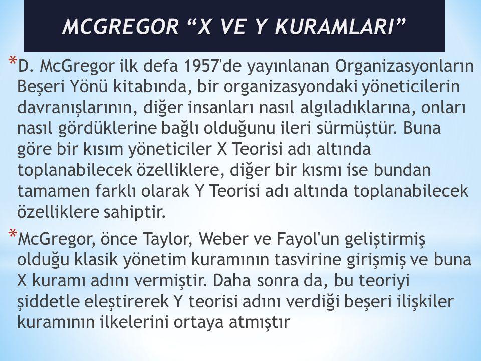 MCGREGOR X VE Y KURAMLARI
