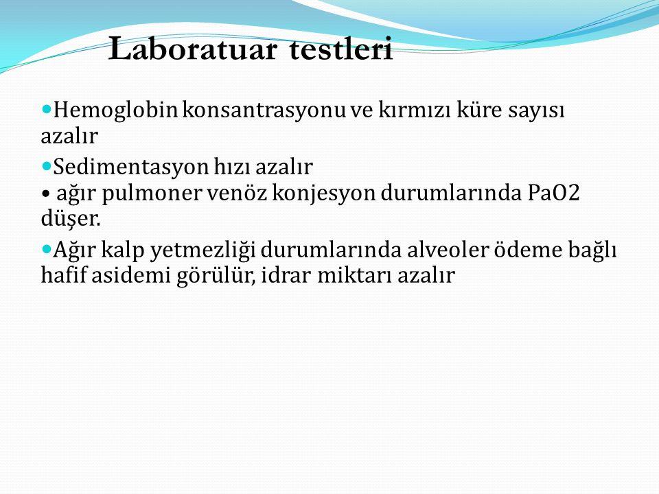 Laboratuar testleri Hemoglobin konsantrasyonu ve kırmızı küre sayısı azalır.