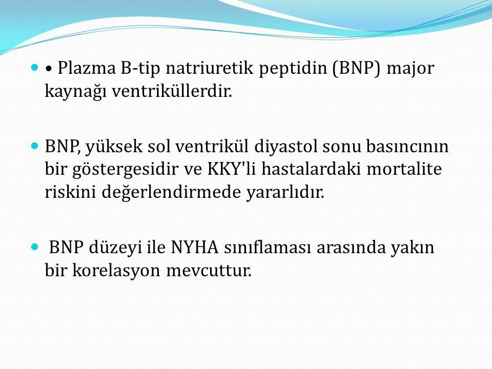 • Plazma B-tip natriuretik peptidin (BNP) major kaynağı ventriküllerdir.