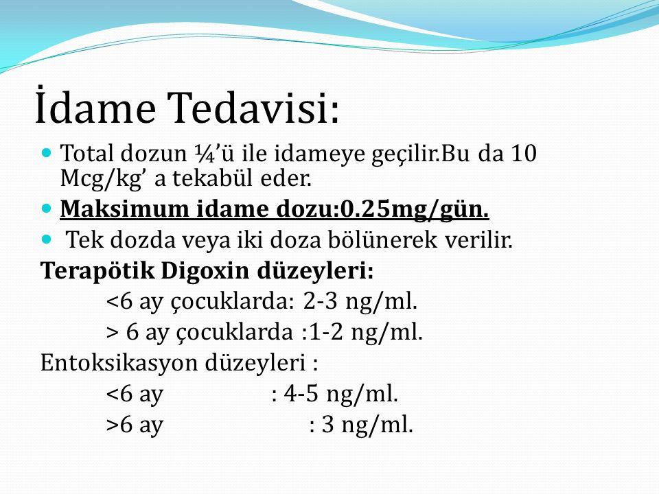 İdame Tedavisi: Total dozun ¼'ü ile idameye geçilir.Bu da 10 Mcg/kg' a tekabül eder. Maksimum idame dozu:0.25mg/gün.