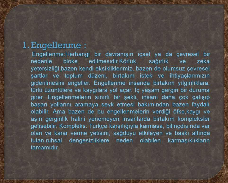 Engellenme :