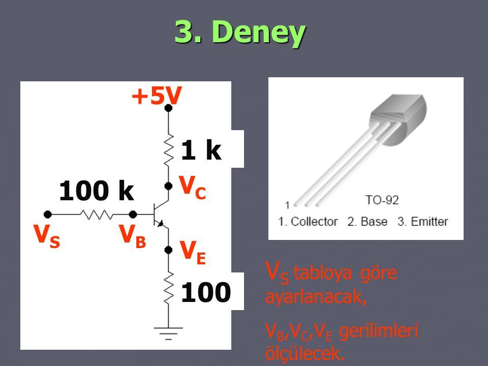 3. Deney 1 k 100 k 100 +5V VC VS VB VE VS tabloya göre ayarlanacak,