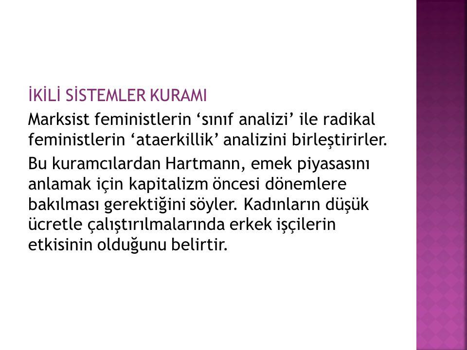 İKİLİ SİSTEMLER KURAMI Marksist feministlerin 'sınıf analizi' ile radikal feministlerin 'ataerkillik' analizini birleştirirler.