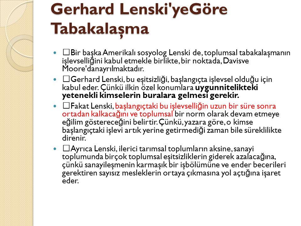 Gerhard Lenski yeGöre Tabakalaşma