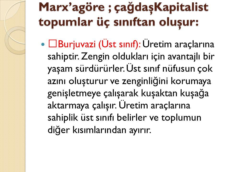 Marx'agöre ; çağdaşKapitalist topumlar üç sınıftan oluşur: