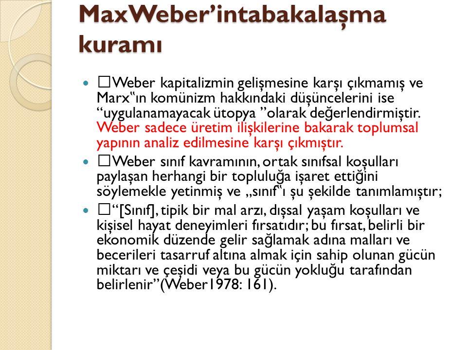 MaxWeber'intabakalaşma kuramı