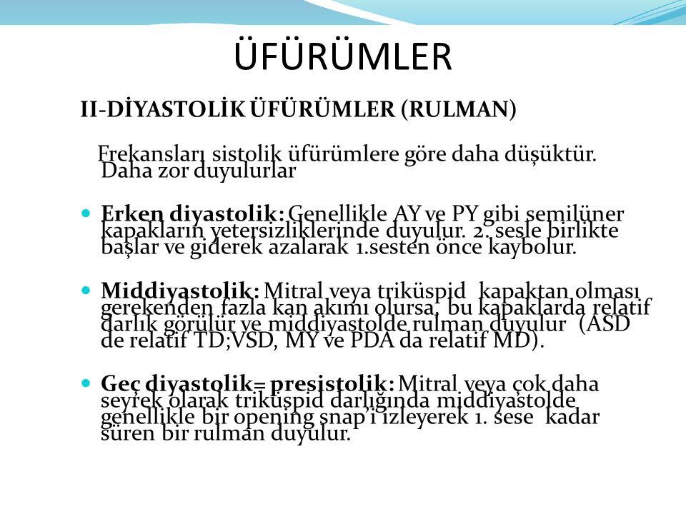 ÜFÜRÜMLER II-DİYASTOLİK ÜFÜRÜMLER (RULMAN)