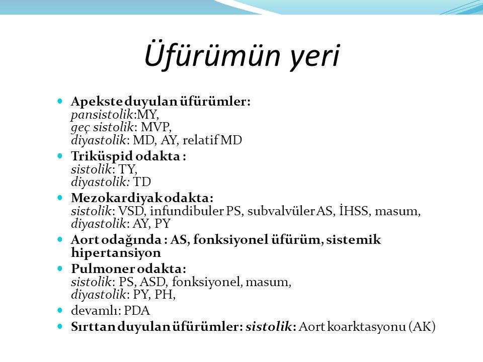 Üfürümün yeri Apekste duyulan üfürümler: pansistolik:MY, geç sistolik: MVP, diyastolik: MD, AY, relatif MD.